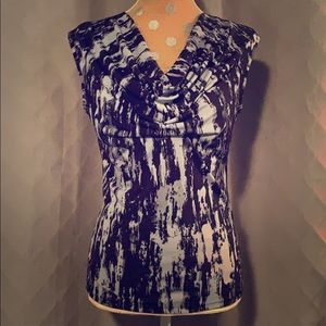 Michael Kors Blue Print Top Sz Small